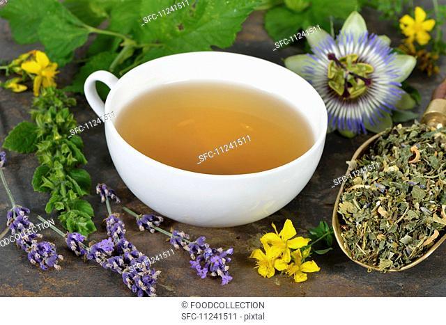 Herbal tea with ingredients (lemon balm, passion flower, St. John's wort, hops, lavender and orange flowers)