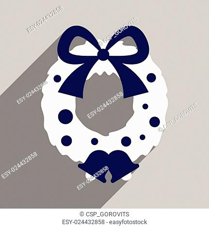 flat icon with long shadow Christmas wreath