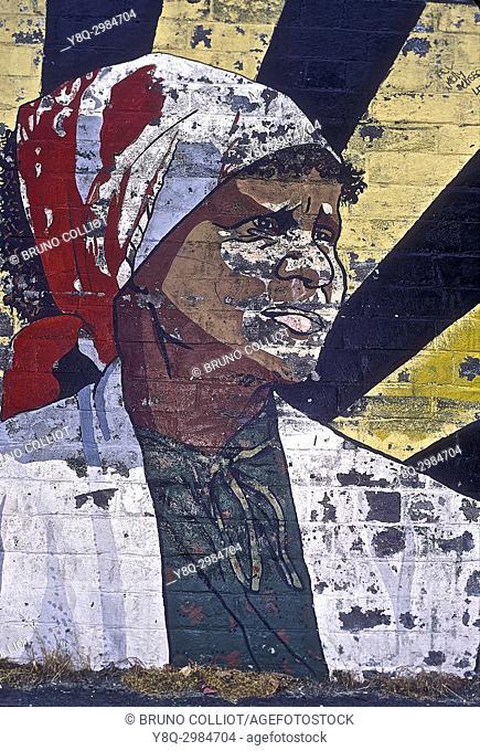 mural in ''sydney harlem'' hervely street, aboriginal community. sydney. NSW, australia