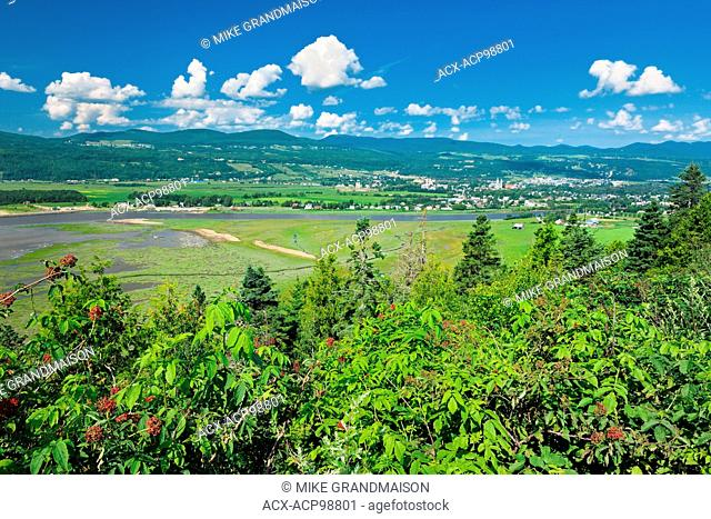 View-of Baie-St-Paul village from St-Joseph-de-la-Rive L'Isle-aux-Coudres Quebec Canada