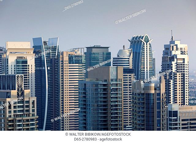 UAE, Dubai, Dubai Marina, elevated view of the marina, dusk