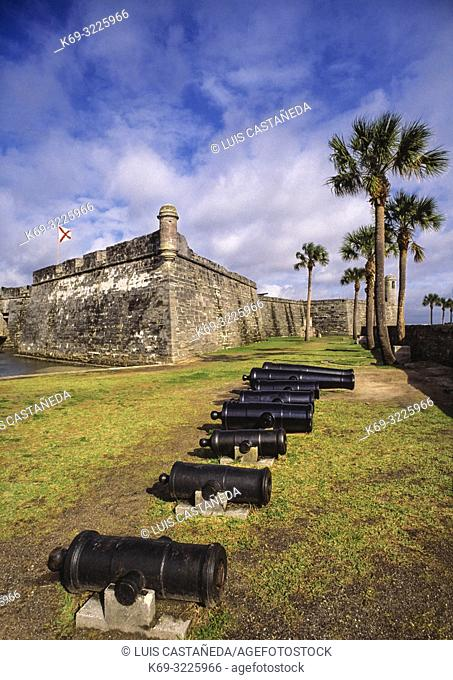 San Marcos Castle. Saint Augustine. Florida. USA. . The Castillo de San Marcos is a 17th-century Spanish stone fortress with views of the St