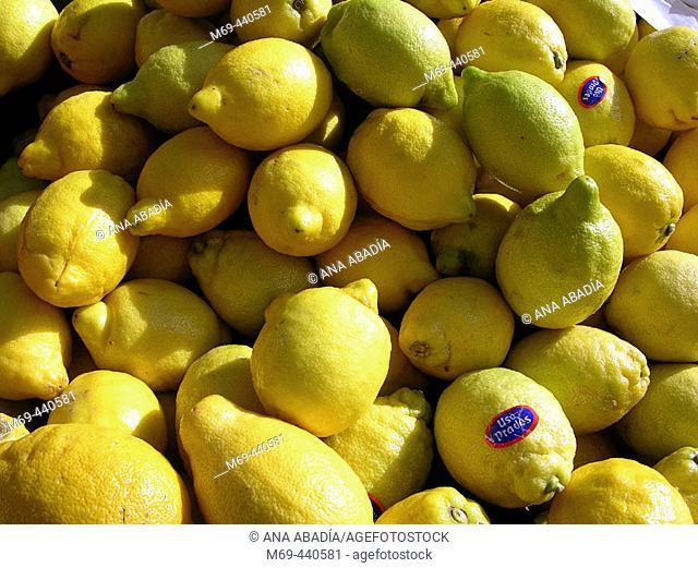 Lemons for sale in market. Camprodon. Girona province, Catalonia. Spain