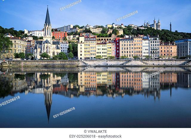 Beautiful view of Saone river in Lyon