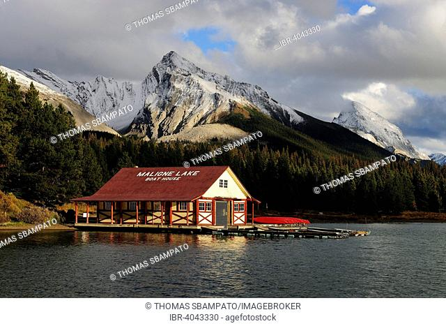 Boat house on Maligne Lake, Jasper National Park, Alberta, Canada