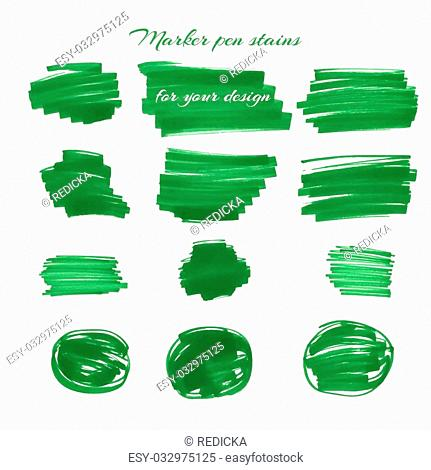 Green marker pen spots and lines isolated on a white background for your design. Vector illustration