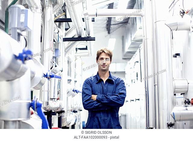 Factory worker in industrial plant, portrait