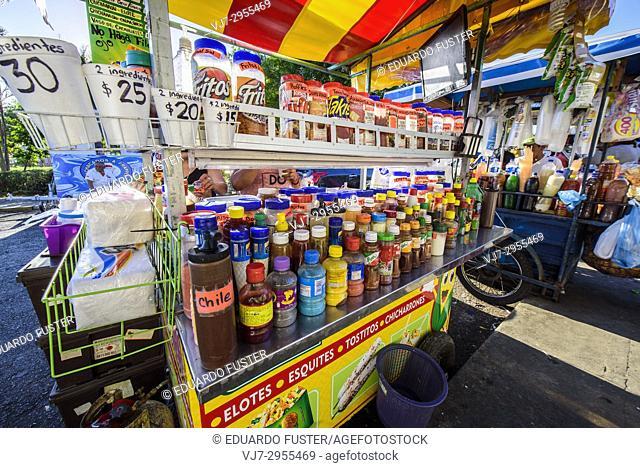 Local street market in the historic center, Merida, Riviera Maya, Yucatan Province, Mexico, Central America