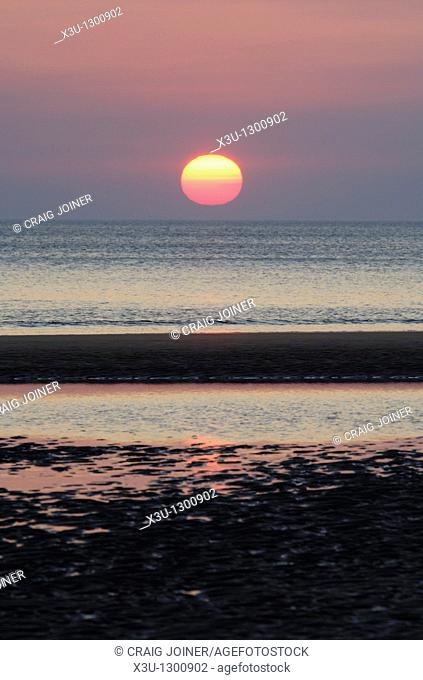 Sunset over Bude Bay from Sandymouth Beach, Cornwall