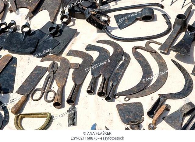 Various rusted vintage metal tools