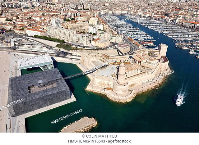 France, Bouches du Rhone, Marseille, Esplanade J4, MuCEM or Museum of Civilization in Europe and the Mediterranean, architect Rudy Ricciotti and Roland Carta...