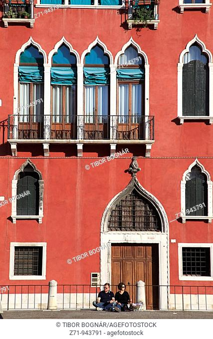 Italy, Venice, Campo San Angelo, typical architecture, people