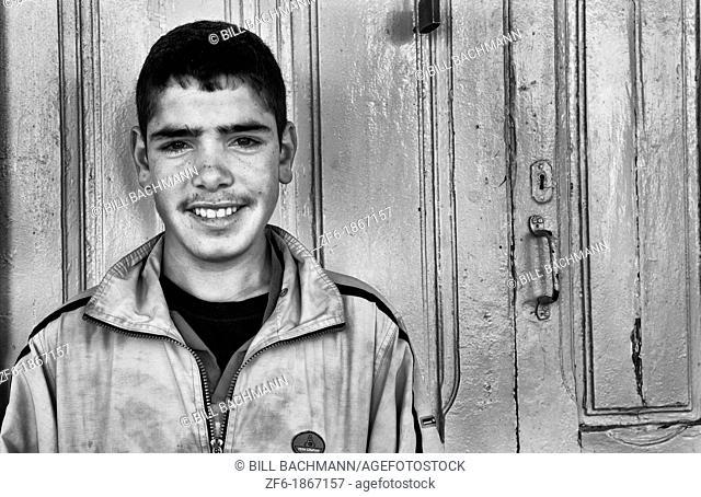 Smiling teenage boy in Testour of Tunisia in Northern Africa