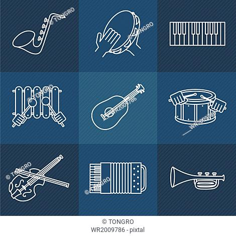 a set of icons related to musical instruments