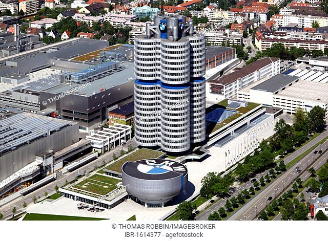 BMW high-rise building and BMW Museum, headquarters of the Bavarian Motor Works, Munich, Bavaria, Germany, Europe
