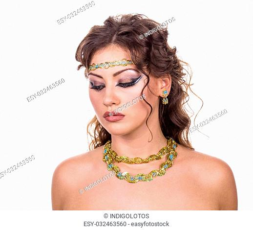 Egypt style. Female bust. Isolated on the white background