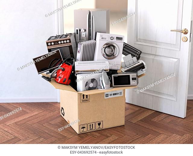 Delivery, moving and online shopping concept. Home household kitchen appliances in open cardboard box in front of open door. 3d illustration