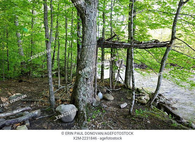Abandoned campsite along the Bondcliff Trail in the Pemigewasset Wilderness of the White Mountains in New Hampshire