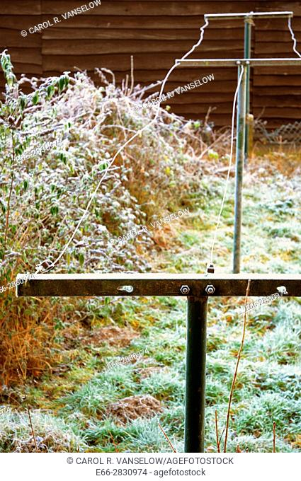 Clothes line covered with frost