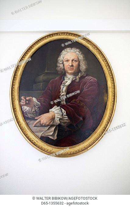 France, Marne, Champagne Region, Epernay, Moet & Chandon champagne winery, painting of Claude Moet, founded company in 1743