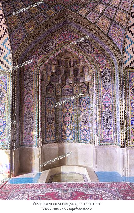 Tilework inside the Masjed-e Nasir al-Molk prayer hall, Shiraz, Iran