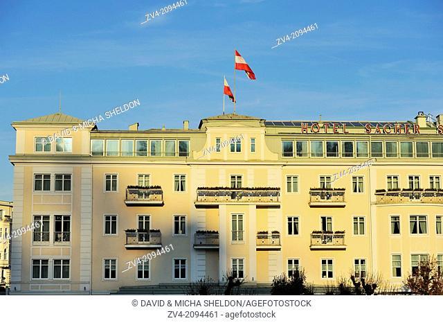 Urban landscape of the Sacher Hotel in Salzburg, Austria