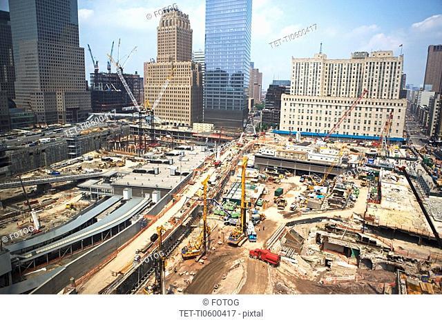 High angle view of ground zero, New York City
