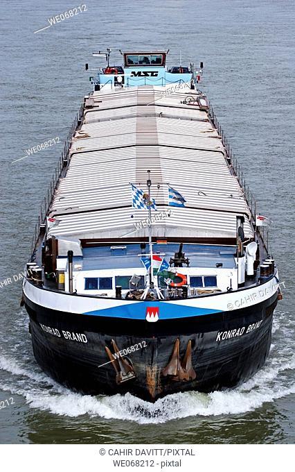 Cargo barge 'Konrad Brand' on the Danube River, Budapest, Hungary