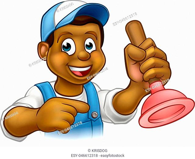 A black plumber handyman cartoon character holding a plunger and pointing