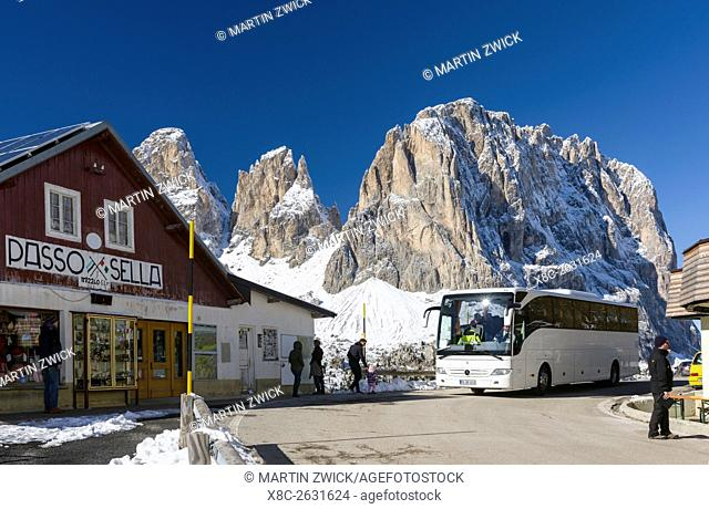 Mountain Pass Sellajoch - Passo Sella in the Dolomites of South Tyrol - Alto Adige. In the background Mount Langkofel - Sassolungo