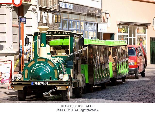 Small train for city tour, Quedlinburg, Saxony-Anhalt, Germany