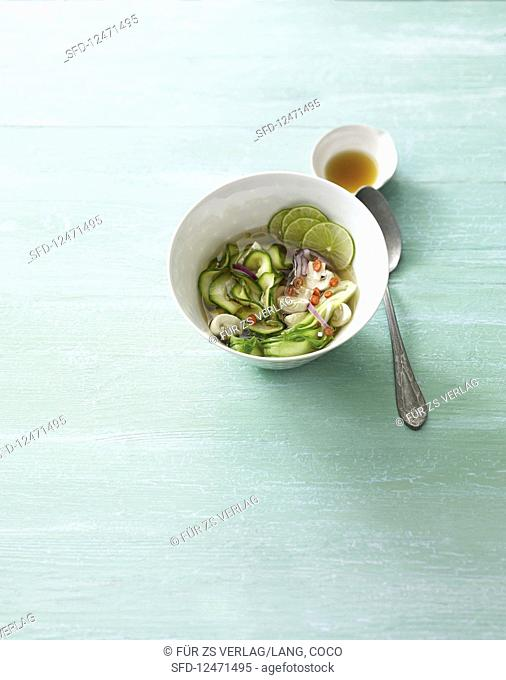 Courgette noodle soup with bok choy