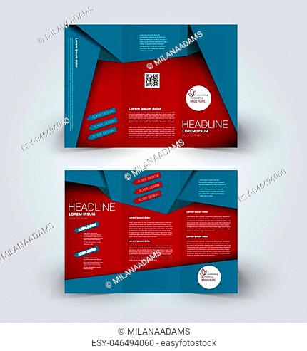 Brochure mock up design template for business, education, advertisement. Trifold booklet editable printable vector illustration