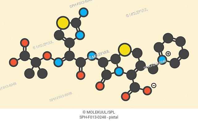 Ceftazidime cephalosporin antibiotic drug molecule. Stylized skeletal formula (chemical structure). Atoms are shown as color-coded circles: hydrogen (hidden)