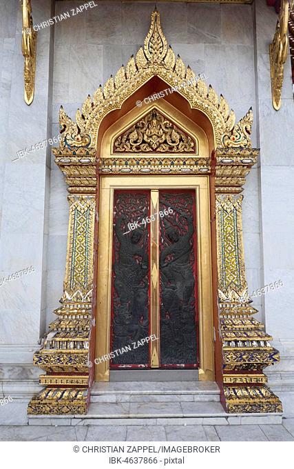 Golden door in Wat Benchamabophit, the marble temple, Bangkok, Thailand