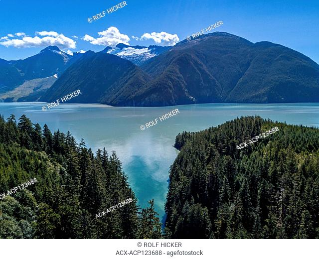 Aerial photograph of the beautiful scenery around Glacier Bay and Cascade Waterfall in Knight Inlet, First Nations Territory, British Columbia, Canada