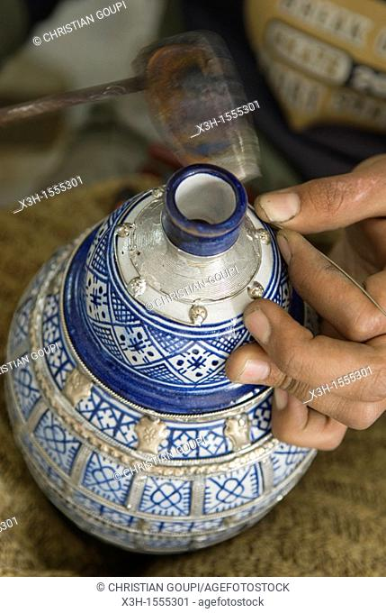 decoration with lead or silver, pottery, Fes, Morocco, North Africa