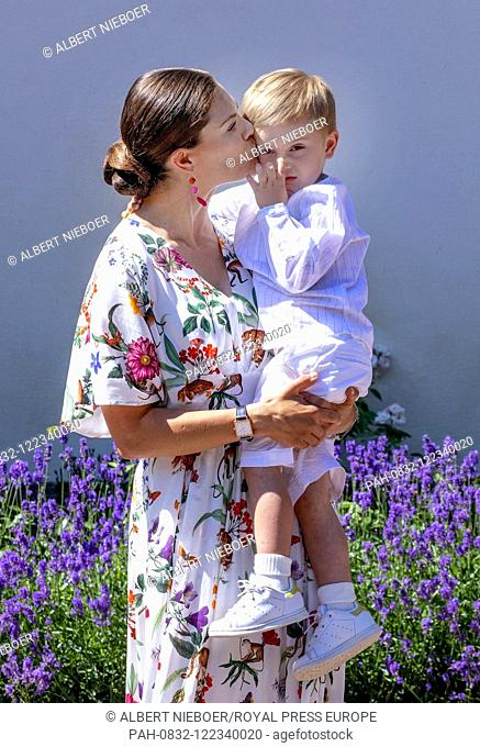 Crown Princess Victoria and Prince Oscar of Sweden at Solliden Palace in Borgholm, on July 14, 2019, to attend the celebrations of Crown Princess Victoria her...