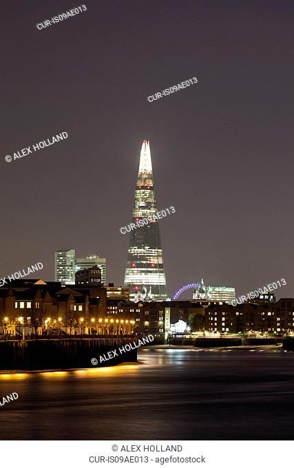 View of the Shard at night, London, United Kingdom