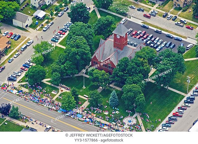 Aerial view of Mason county courthouse in Ludington, Michigan, USA during Independence Day parade