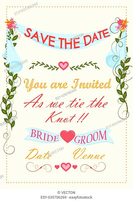 Wedding invitation typography. Vector illustration