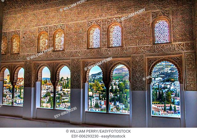 Alhambra Moorish Wall Windows Patterns Designs City View Granada Andalusia Spain