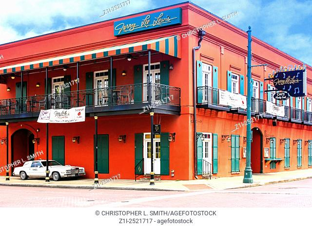 The Jerry Lee Lewis Cafe and Honky Tonk club on Beale Street in Memphis Tennessee