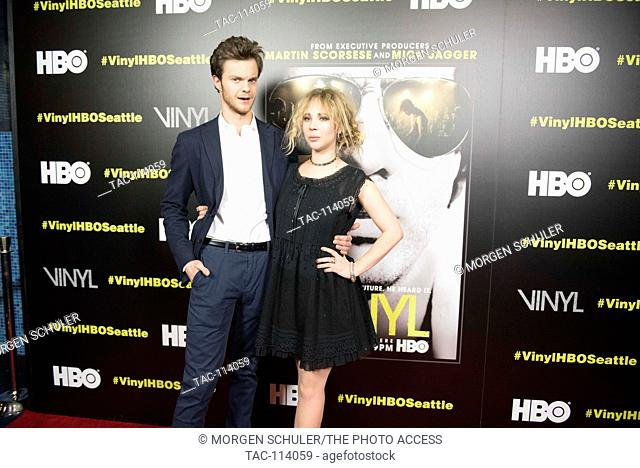 Jack Quaid and Juno Temple pose at the premiere for HBO's new series Vinyl at Cinerama Theater