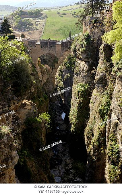 Built in 1616, Puente Viejo ('Old Bridge') spans El Tajo, the deep chasm that carries the Guadalevin River through Ronda, Andalusia, Spain