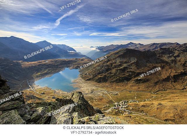 View of Lake Montespluga from Pizzo Della Casa Chiavenna Valley Spluga Valley Valtellina Lombardy Italy Europe