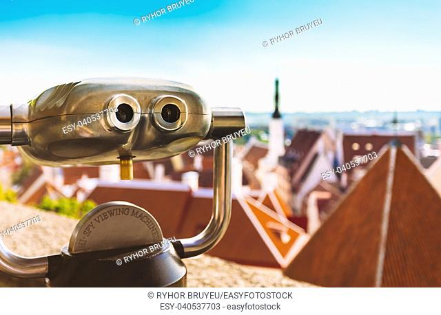 Coin Operated Telescope Binocular For Sightseeing At Town Tallinn Background