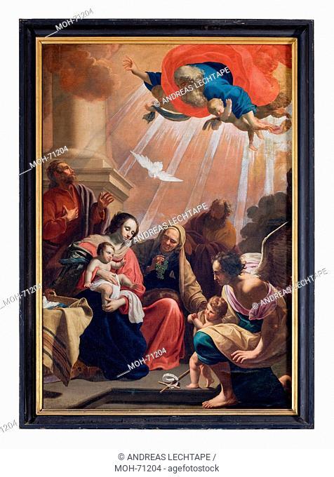 Die St. Jakobuskirche Brügge. Gemälde. Die Hl. Familie von Jakob van Oost dem Älteren aus dem 17. Jahrhundert