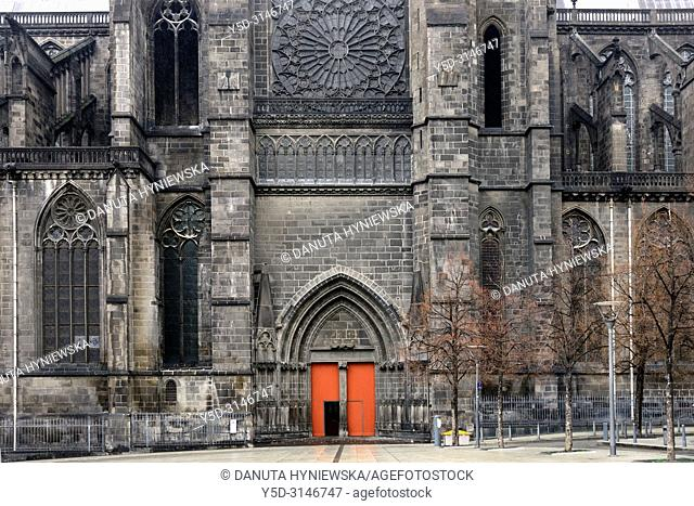 Facade of Notre Dame de L'Assomption Cathedral - Cathedral of Our Lady of the Assumption of Clermont-Ferrand seen from Place de la Victoire - French national...