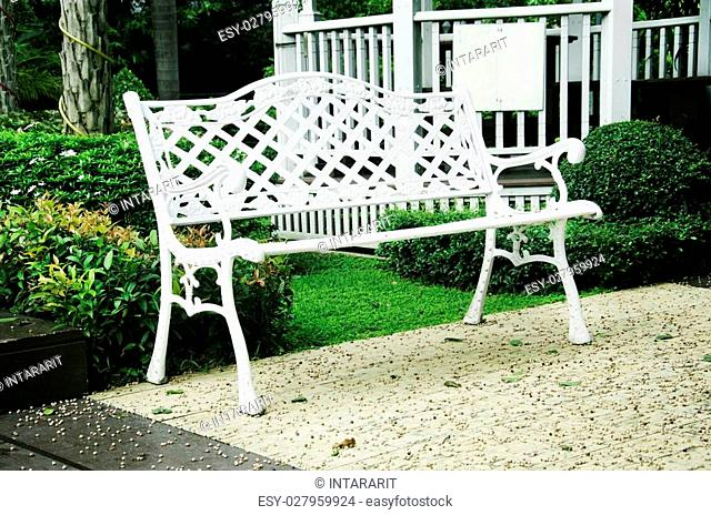 White chairs in the garden